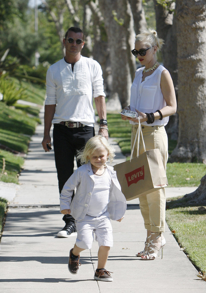 Gwen Stefani and Gavin Rossdale watched Zuma as he ran ahead on the sidewalk in LA on a Father's Day outing.