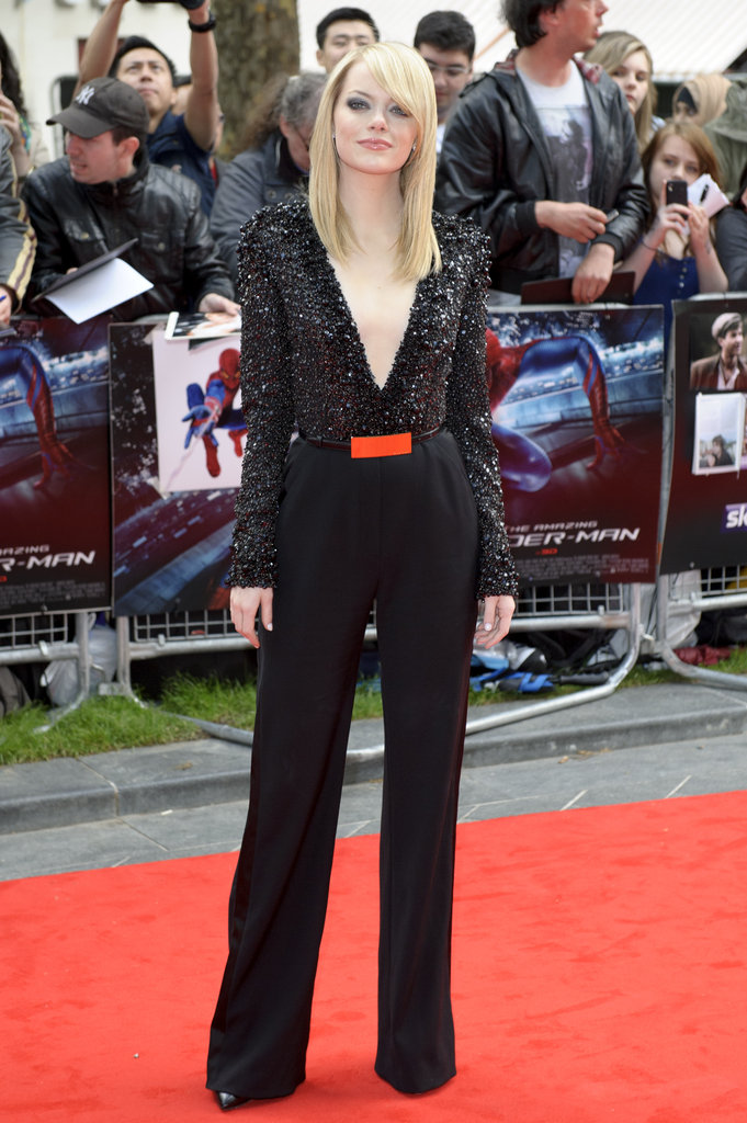 Emma Stone's sexy embellished Elie Saab V-neck jumpsuit turned heads at the UK premiere of The Amazing Spider-Man.