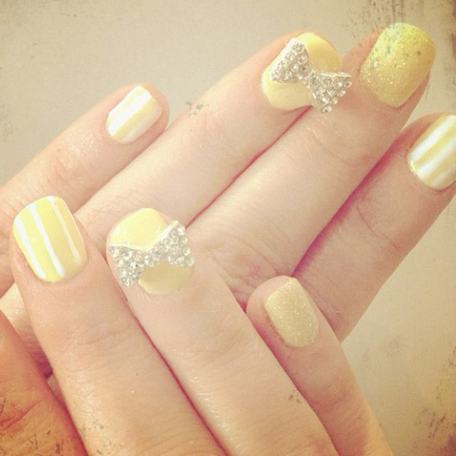 Zooey Deschanel Yellow Striped Nail Art