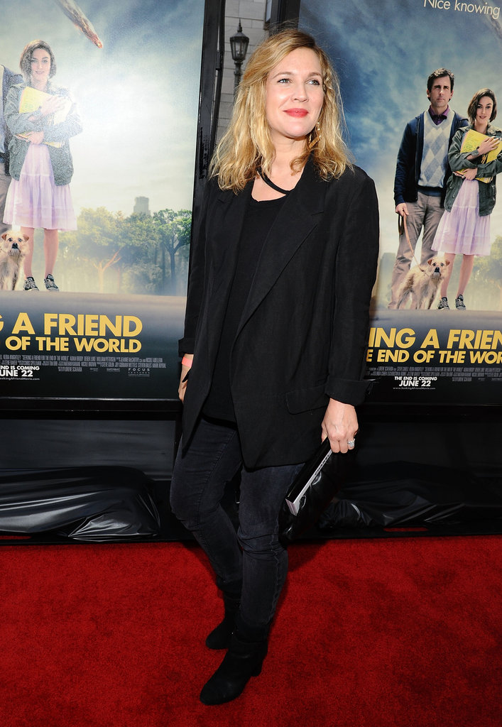 Drew Barrymore wore bright pink lips on the red carpet at the LA premiere of Seeking a Friend For the End of the World.