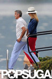 Stacy Keibler walked to a boat on Lako Como with George Clooney.
