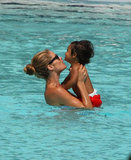 Doutzen Kroes held onto little Phyllon James.
