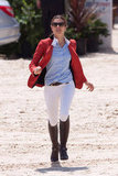 The avid rider showed off her equestrian gear in a pair of white pants and a classic polo button-down.