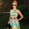 Dianna Agron Printed Colorful Dress