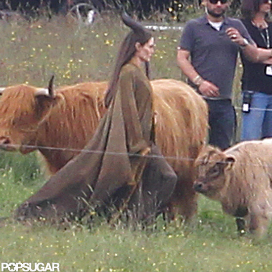 Angelina Jolie was in costume for Maleficent.