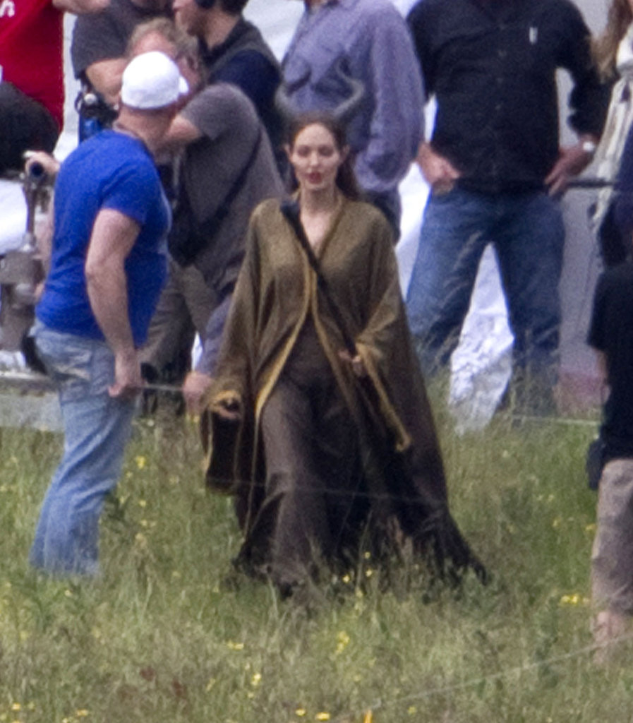 Angelina Jolie Seen in Costume on the Maleficent Set