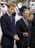 Prince William smiled alongside his father, Prince Charles, in Glasglow in September 2001.