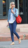 Cameron Diaz wore a denim jacket.