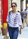 Katie Holmes went shopping for groceries in NYC.