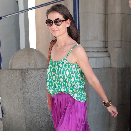 Katie Holmes Green Printed Tank With Purple Maxi Skirt