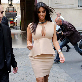 Kim Kardashian Nude Peplum Dress