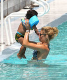 Doutzen Kroes swam in the pool with her son, Phyllon.