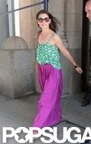 Katie Holmes stepped out in NYC wearing a long purple skirt.