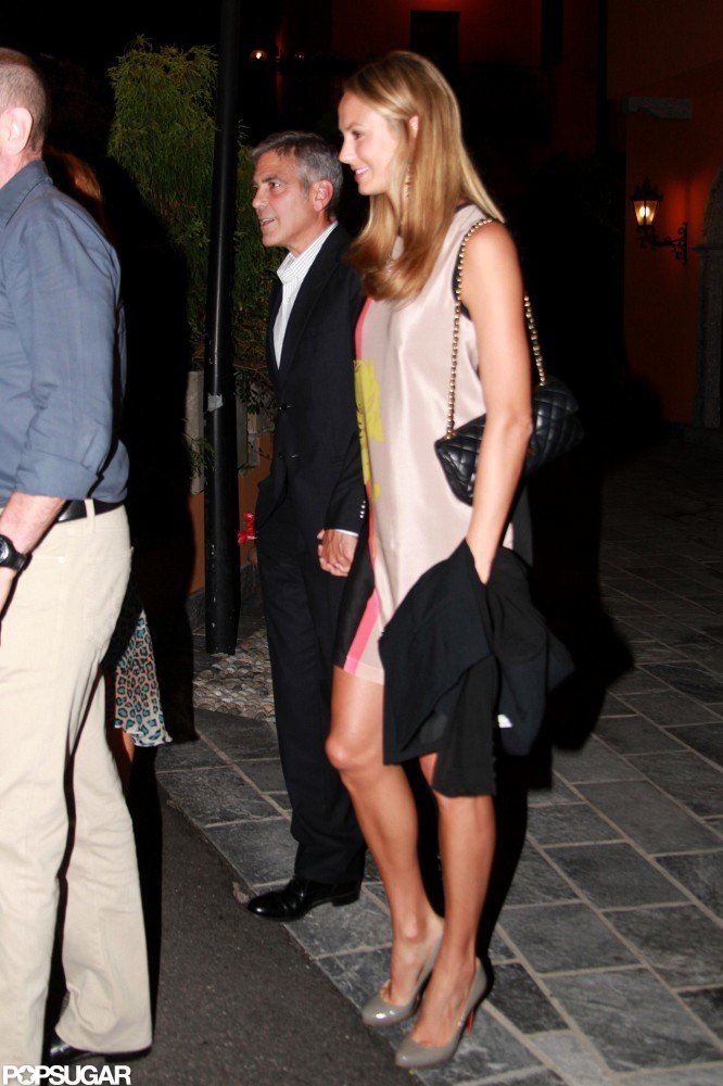 George Clooney and Stacy Keibler held hands.