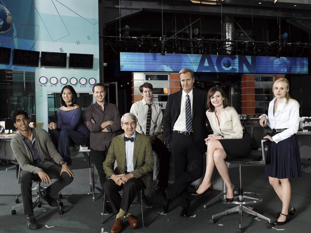 Dev Patel, Olivia Munn, Thomas Sadoski, Sam Waterston, John Gallagher Jr., Jeff Daniels, Emily Mortimer, and Alison Pill on The Newsroom.
