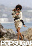 Halle Berry carried Nahla Aubry at the beach.