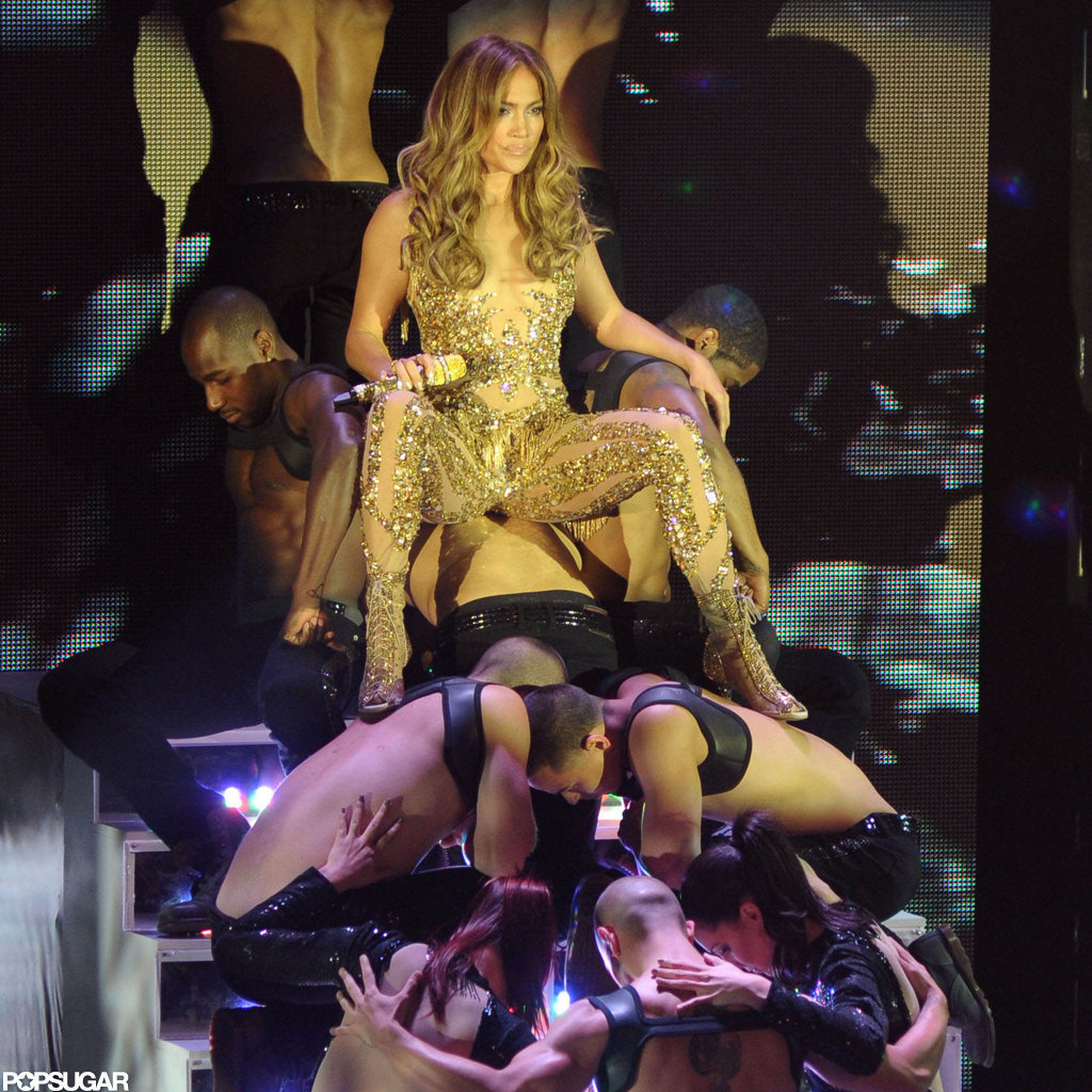 Jennifer Lopez wore a gold costume on stage.