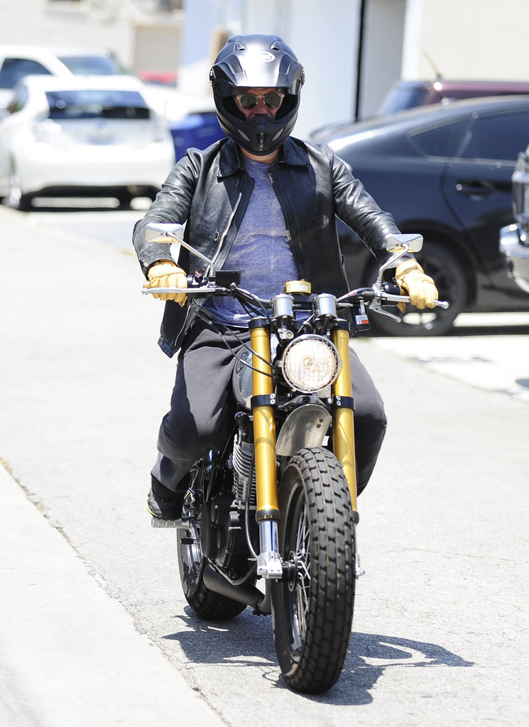 Orlando Bloom cruised around West Hollywood on his motorcycle.