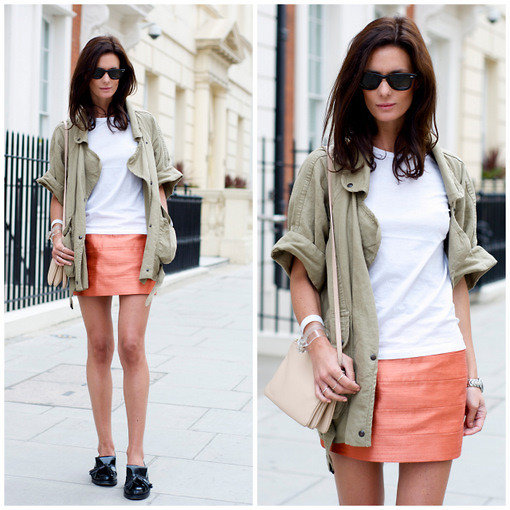 Pair a colorful skirt with effortless neutral-tone layers to keep the outfit summery and practical. Photo courtesy of Lookbook.nu