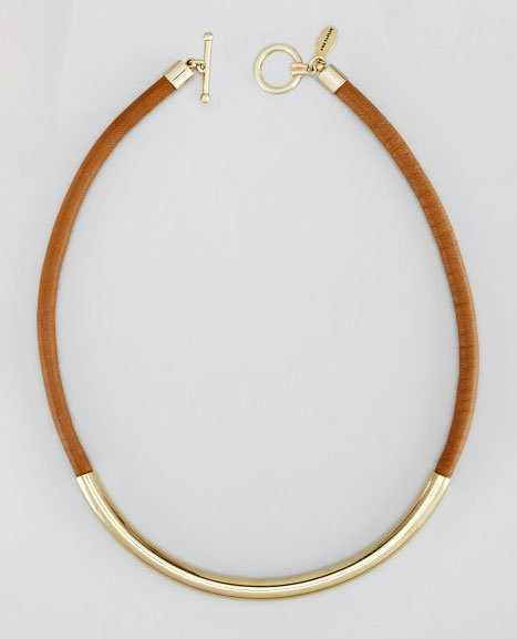 Ann Taylor is an awesome resource for jewelry that feels elegant and on trend, like this leather and gold necklace. It's got a hint of a tribal feel, but it lends itself to all occasions.  Ann Taylor Leather and Metal Necklace ($40, originally $58)