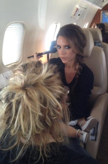 Victoria Beckham got her hair and makeup done mid-flight.