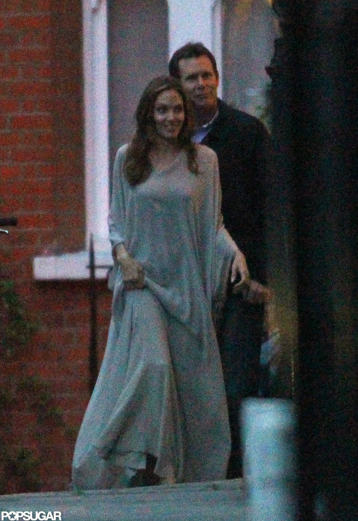 Angelina Jolie out to dinner in London.