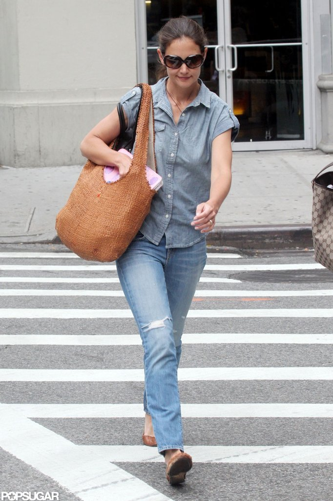 Katie Holmes looked cute in light-colored denim as she took a stroll in NYC.