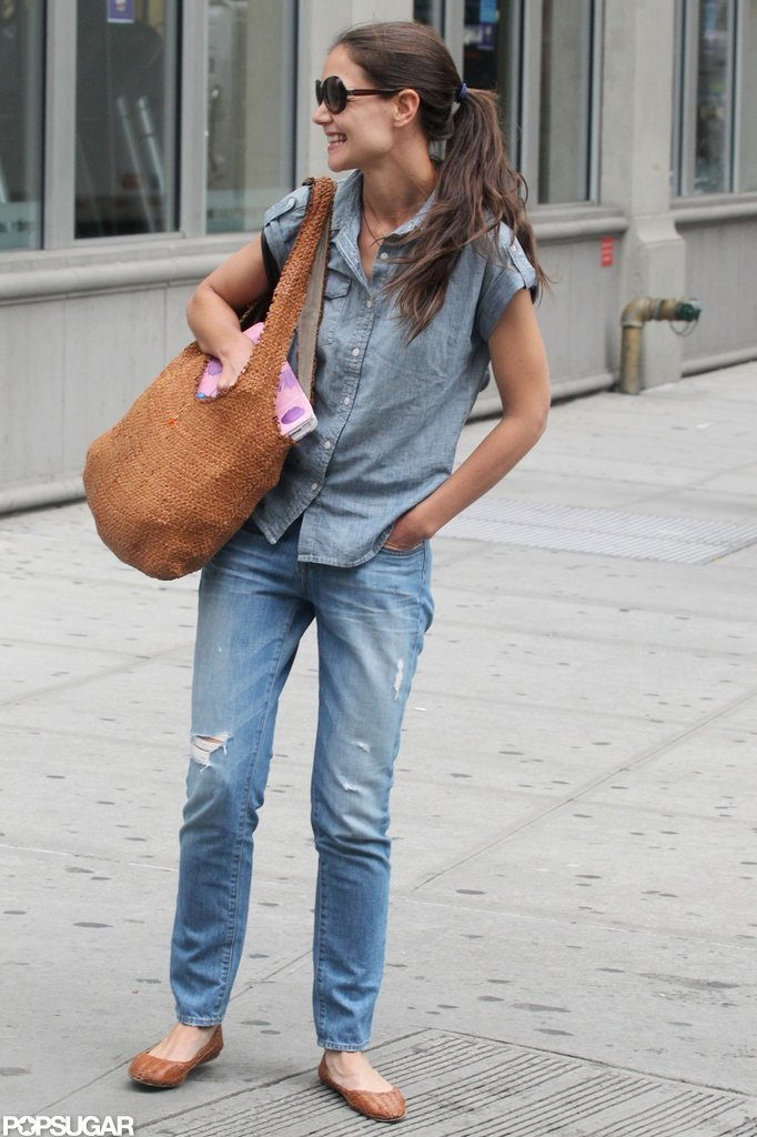 Katie Holmes was all smiles as she spent the day in NYC.
