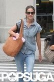Katie Holmes wore double denim in NYC.