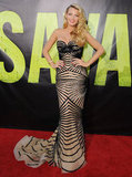 Blake had a total bombshell moment, working a Zuhair Murad down the red carpet at the Savages premiere in LA.