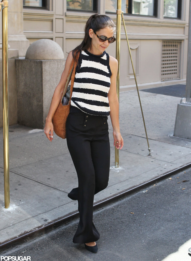 Katie Holmes wore black and white stripes.