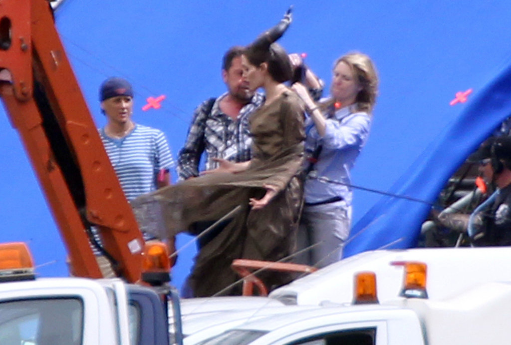 Angelina Jolie Gets Suspended From a Crane on Set of Maleficent