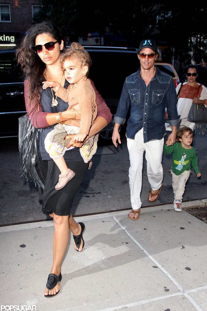 Matthew McConaughey and his new wife, Camila, arrived with their kids in NYC.