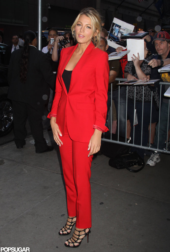 Blake Lively chose a bright red suit.