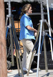 Pregnant Reese Witherspoon wore a light blue button-up shirt on the set of Devil's Knot in Georgia.