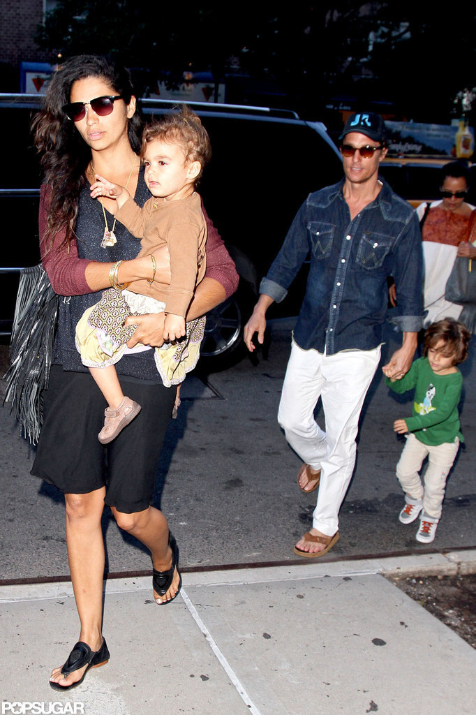 The McConaughey family arrived together in NYC.