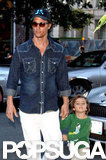 Matthew McConaughey and Levi McConaughey walked hand in hand toward their hotel in NYC.