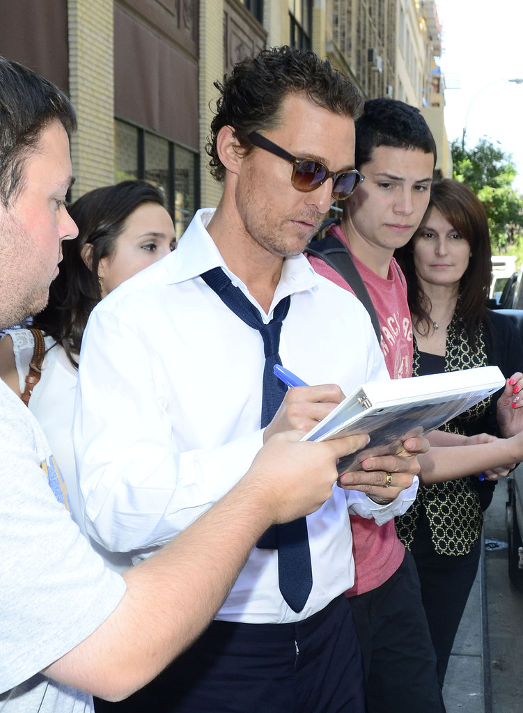 Matthew McConaughey greeted fans in NYC.
