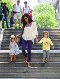 Camila helped her little ones down the stairs as they visited the zoo.