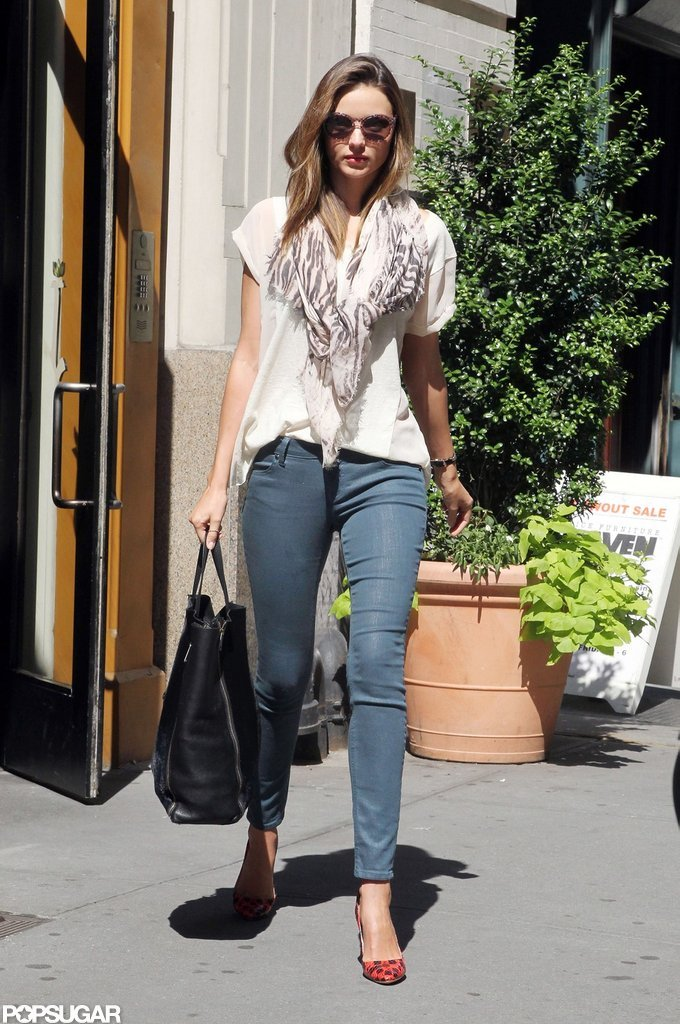 Miranda Kerr wore jeans in NYC.