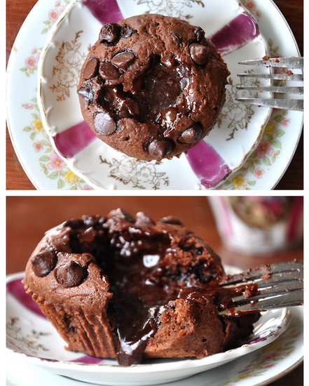 Triple Chocolate Molten Muffins