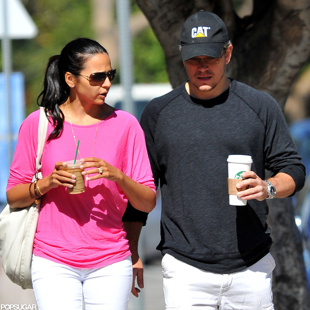 Matt and Luciana Damon stepped out together for some coffee.