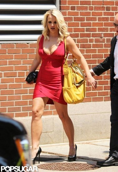 Britney Spears wore a tight red dress.