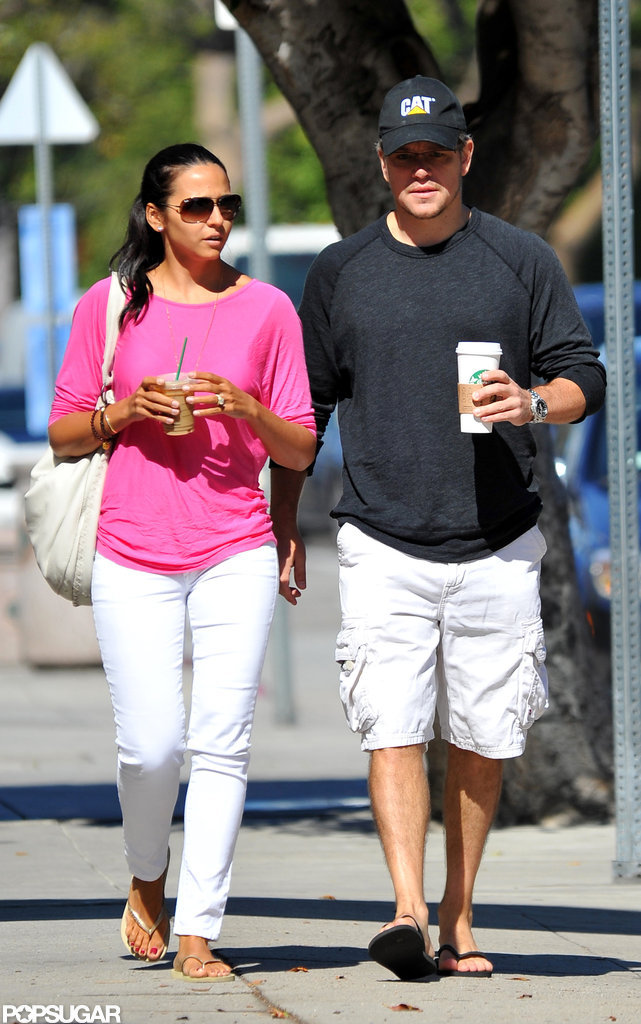 Matt Damon walked with his wife, Luciana, in LA.