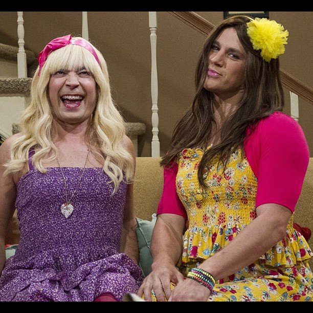 Jimmy Fallon and Channing Tatum dressed up as girls. Source: Instagram user jimmyfallon