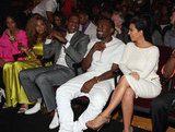 Beyoncé Knowles sat next to husband Jay-Z, their good friend Kanye West, and his girlfriend Kim Kardashian.
