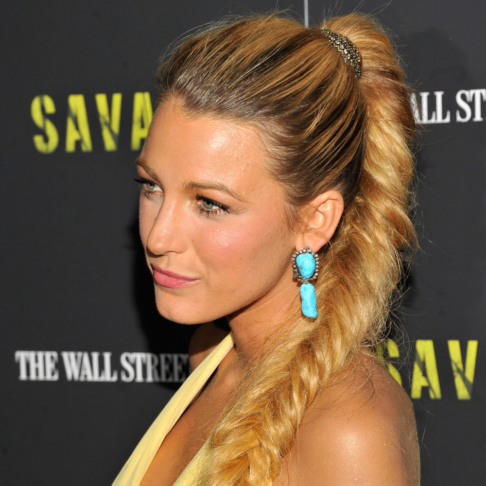 Blake Lively's fishtail braid at this week's premiere of Savages was unique in that we haven't seen this style — or thickness — in quite some time. To get the look at home, you might want to consider extensions first. We love Schwarzkopf Magic Hair Extensions ($44.95).