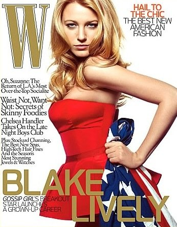 Blake Lively accented her W cover look with a flag in 2008.