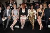 Elizabeth Banks, Christina Hendricks, M.I.A., and Jessica Alba sat front row at the Versace fashion show in Paris.