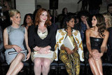 Elizabeth Banks, Christina Hendricks, M.I.A., and Jessica Alba sat together at the Versace fashion show in Paris.